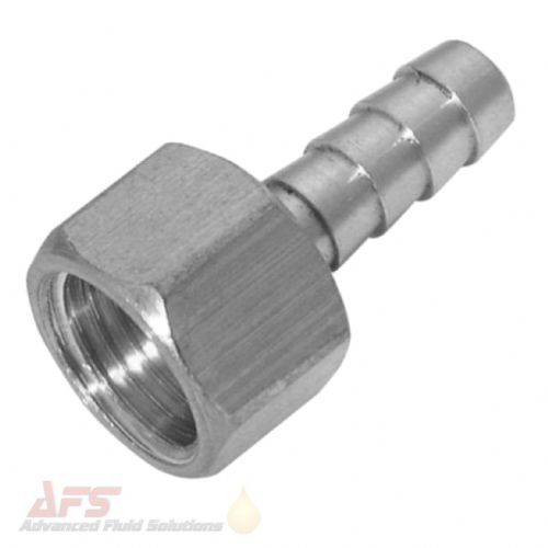 1 BSPP Fixed Female x 25mm Hosetail - SS 316 Stainless Steel